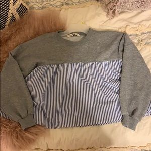 Gray and blue and white striped sweatshirt